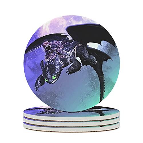 Harberry Posavasos de cerámica con forma de sombra del dragón nocturno, de primera calidad, personal, de cerámica, moderno, juego Anime para el hogar, color blanco, 4 unidades