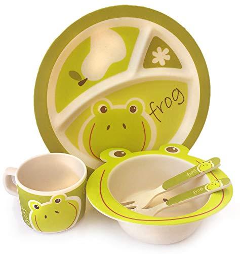 Vajilla de bambú bebé e Infantil de 5 Piezas, con Taza y Plato Compartimentos. Material ecológico Biodegradable sin BPA, Apto para lavavajillas Animales (Rana)