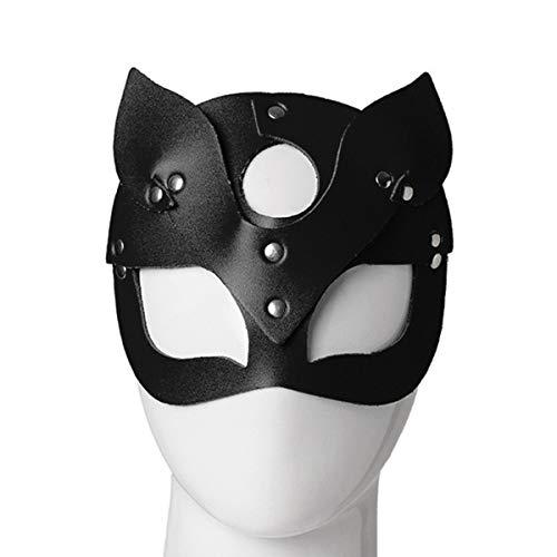 Ponacat Cosplay Maske für Halloween Party Ball Dance Frauen sexy halbes Gesicht Katze Leder Maske