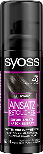 SYOSS Ansatz Retoucher Ansatz-Kaschierspray Schwarz, bis zu 40 Anwendungen, 3er Pack (3 x 120 ml)