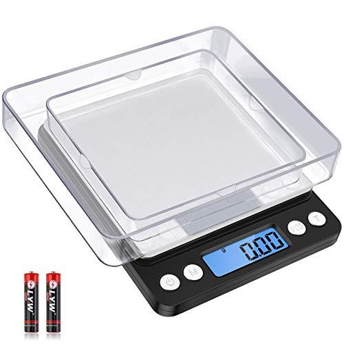 Diyife Balance de Précision 500g/0,01g, Balance de Cuisine/Balance de Poche/Balances de Bijoux, Haute PréCision Balance Électronique, Écran LCD, Fonction Tare & PCS, avec 2 Plateaux & Piles (Noir)
