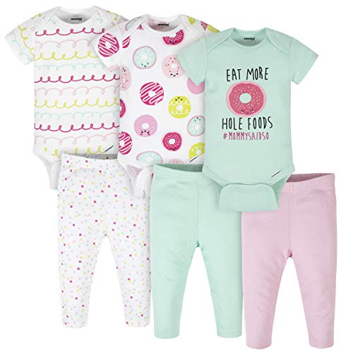 Onesies Brand Baby 3 Onesies 3 Pants Outfit Bundle Mix n Match Newborn to 12M, Pink Green Donut, 12 Months