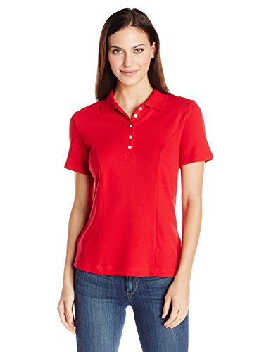 Riders by Lee Indigo Women's Plus-Size Morgan Short Sleeve Polo Shirt, Classic Red, 1X