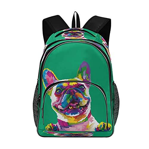 Backpack School Bookbag French Bulldog In Pop Art Colors Schoolbag with Water Bottle Pocket