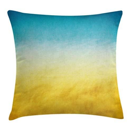 Funda de cojín de color amarillo y azul, para surf Waves Ocean Beach, exótico, de ensueño, con tonos borrosos, paisaje de 45,7 x 45,7 cm, azul y amarillo
