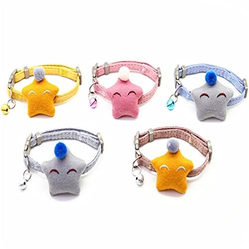 Anjing 5 Unids Collares Gato Collar Campana Ajustable Ajuste Perdido Etiquetas Marrón Rosa Gris Amarillo Azul Algodón M