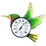 MUMTOP Indoor Outdoor Thermometer Hummingbird Waterproof Wall Thermometer Wireless Hygrometer, No Battery Needed Patio Hanging Decor