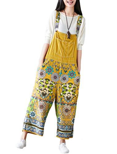 Mallimoda Damen Weite Bein Latzhose Jumpsuits Denim Overalls Printed Baggy Hosen Art 5-Gelb
