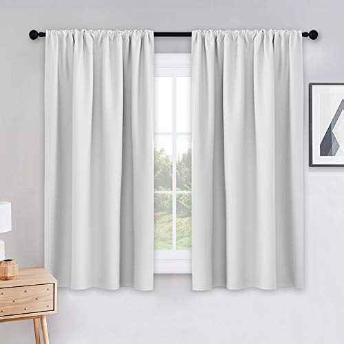 PONY DANCE 54 inch Length Curtains - Room Darkening Kitchen Solid Thermal Draperies Rod Pocket Short Panels Drapes for Bedroom Window Treatments, 42 W by 54 L, Greyish White, Set of 2