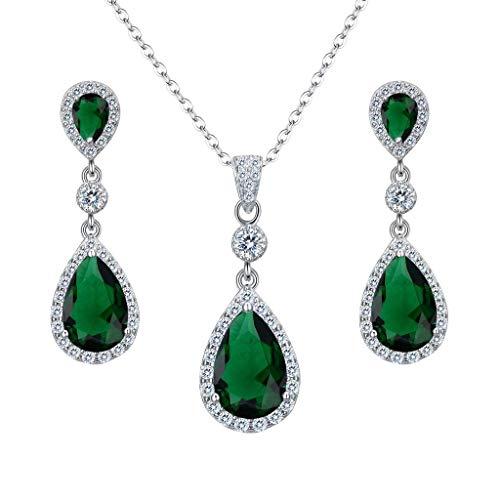 Clearine Donna Parure gioielli-Argento Matrimonio Nuziale Zirconia cubica Infinito lacrima Pendente Collana Ciondolare Orecchini Set Smeraldo Colore