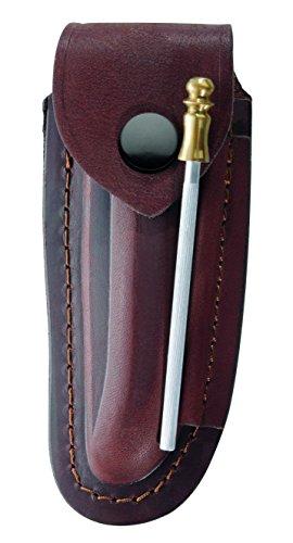 Herbertz Braunes Leder Etui - für Laguiole Messer mit 12 cm Heftlänge - längs und quer tragbar - inkl. Wetzstahl 10 cm