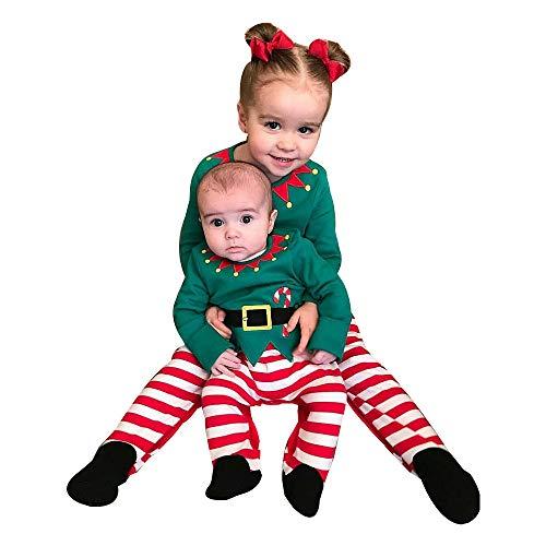 Ningsun Moda Manica Lunga Pigiama di Natale, Infantile Bambini Bambino Ragazzo Ragazza Maglietta Tops + A Strisce Pantaloni Felpa Natale Set di Completi (Verde,70)
