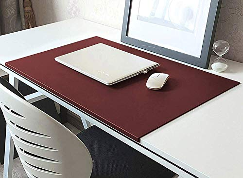 Alfombrilla de escritorio extendida con protector de bordes, de piel sintética para ratón con almohadilla de escritura suave, antideslizante, alfombrilla de ratón para oficina o hogar