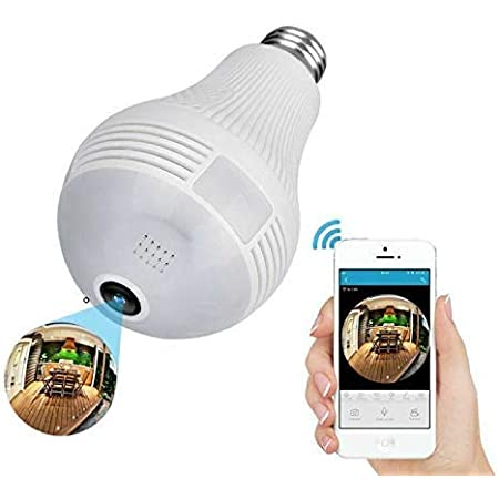 SekyuritiBijon Wi-Fi 1080p Full HD 360° Viewing Area CCTV Camera and Smart LED Bulb with Bulb Holder, White