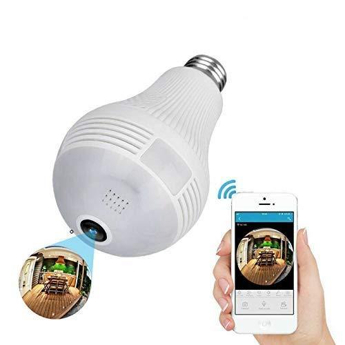 SekyuritiBijon Bulb Camera 360° Panoramic Wireless CCTV Camera and Smart LED Bulb with Bulb Holder Full HD 1080P | Remote View | Motion Detection | 2 Way Communication | Fisheye - Pack of 01