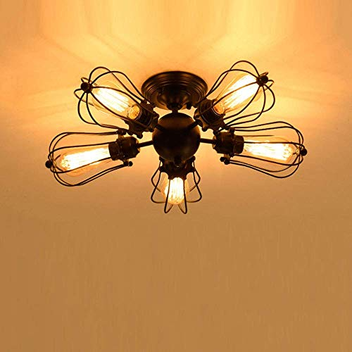 E27 * 5 luces Luz de techo de montaje semi empotrado Jaula de pomelo industrial vintage Tanto las luces de techo como las lámparas de pared disponibles para usar Forma de ventilador de hierr