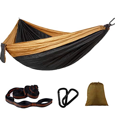 Purjoy Camping Hammock Single & Double Portable Hammocks with 2 Tree Straps (36 Loops/20 Ft Total),Lightweight Nylon Parachute Hammocks for Backpacking,Travel,Beach,Backyard,Patio,Hiking(Brown/Black2)