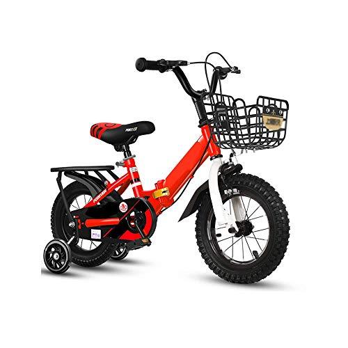 Caixia Bicicletta Pieghevole per Bambini con Ruote ausiliarie Flash 12-18 Pollici Bicicletta per Studenti con Ammortizzatore Sportivo Adatta per 6-12 Anni(Size:12 Inches,Color:Rosso)
