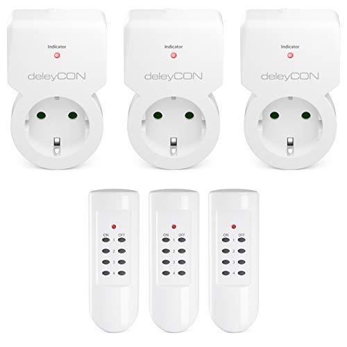 deleyCON Funksteckdosen Set 3x Funksteckdose + 3x Fernbedienung 4 Funkkanäle Funkschalter Set Innenbereich bis 30m 1100 Watt Kindersicherung - Weiß