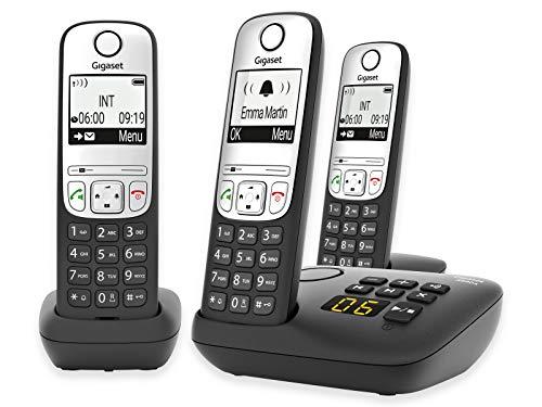 GIGASET A690 A Trio schwarz schnurlos analog (DECT) 3 Mobilteile Anrufbeantworter Display Freisprechen Telefonbuch 100 Einträge