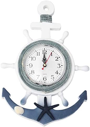 CLISPEED Nautical Anchor Wall Clock Wall Hanging Ornament Wooden Boat Ship Steering Wheel Wall product image