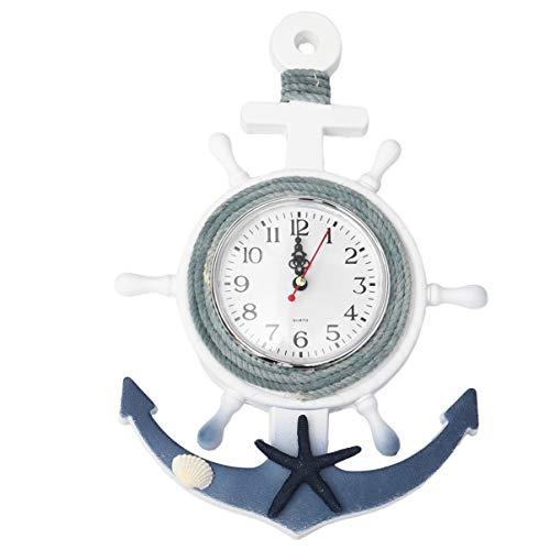 CLISPEED Wooden Ship Anchor Clock Wheel Wall Hanging Clock Nautical Anchor Clock Mediterranean Style