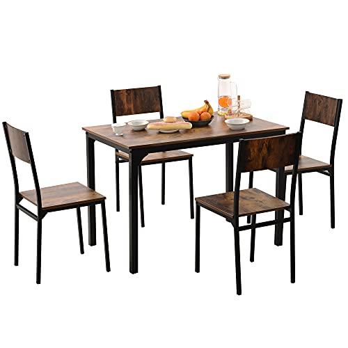 YOTH Sitzgruppe, Esszimmergruppe Esstisch mit 4 Stühlen, für Balkon & Esszimmer & Wohnzimmer, Vintagebraun