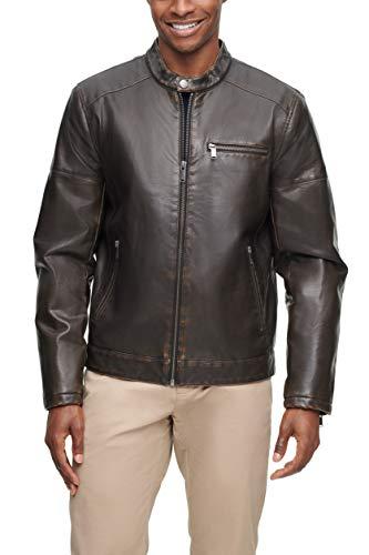 Dockers Men's Kyle Faux Leather Racer Jacket, Dark Brown, XL