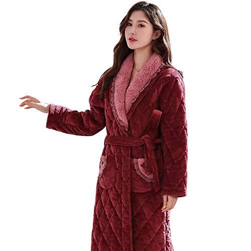 ROirEMJ Damen Bademantel,Luxus Rote Flanell Robe Weibliche Dicke Elegante Ankleide...