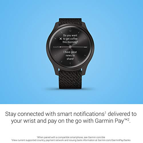Garmin vívomove Style, Hybrid Smartwatch with Real Watch Hands and Hidden Color Touchscreen Displays, Graphite with Black Woven Nylon Band 4
