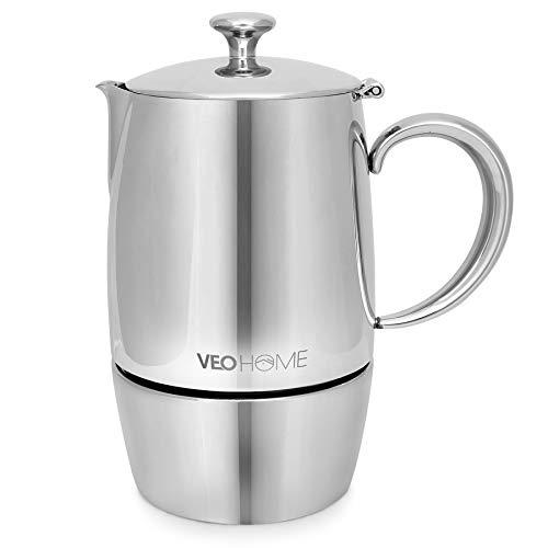 VeoHome Mokka Pot Espressokocher 6 Tassen 300 ml - Edelstahl italienische Mokka kanne Induktionsherd, Gas, Keramik, Elektrik ohne Aluminium - Doppelfilter-Technologie