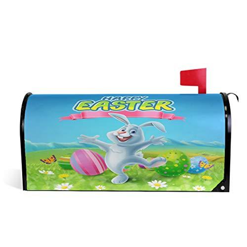 Wamika Spring Happy Easter Bunny Eggs Housse de boîte aux Lettres magnétique Motif Marguerites et Papillons Taille Standard 51 x 46 cm 52.6x45.8cm Multicolore