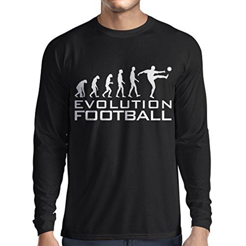 lepni.me Camiseta de Manga Larga para Hombre La evolución del fútbol - Camiseta de fanático del Equipo de fútbol de la Copa Mundial (XXX-Large Negro Blanco)