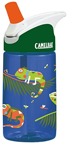 CamelBak Eddy 0.4-Liter Kids Water Bottle – - CamelBak Kids Big Bite Valve - Spill Proof- - Water Bottle For Kids - BPA-Free Water Bottle – 12 Ounces, Iguanas, Bottle Only