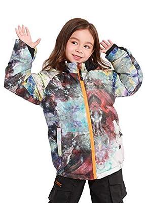 Bluemagic Kids Waterproof Down Jacket Snow Jacket Snowsuit for Boys Girls Winter Ski Coat,Paint,120
