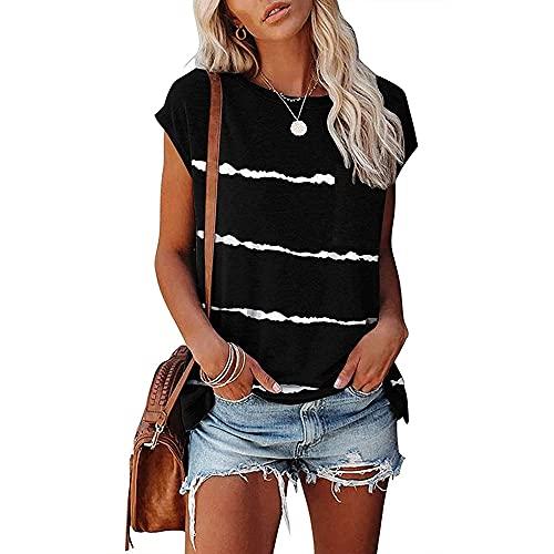 PANBOB Camisa Mujer Básico Camuflaje/Rayas Estampado Cuello Redondo Bolsillos Decoración Mujer Tops Casual Clásico Moda Personalidad Transpirable Elasticidad Mujer Blusa B-Black S