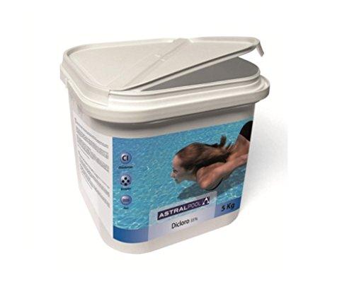 Astralpool Dicloro Granulado 55% envase de 5 Kg Rápido Piscinas Poliester Liner