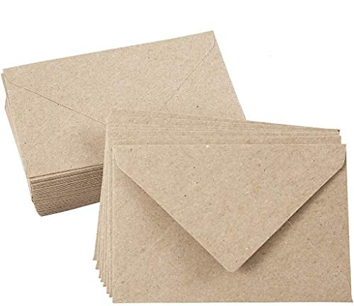 Kraftpapier Umschläge, 50 Stück, Hohe Qualität: 140 g/m², Recycling Umschläge, C6 11,5x16 cm