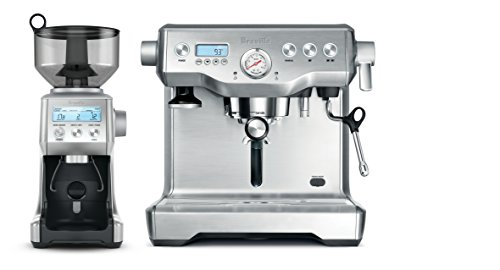 Breville The Dynamic Duo Espresso Machine with Grinder, Brushed Stainless Steel BEP920BSS
