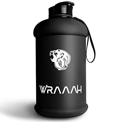 WRAAAH Botella deportiva de 2 litros, extrarobusta, XXL, para gimnasio y entrenamiento, sin BPA, 100% a prueba de fugas, botella de agua prémium, botella grande, color negro mate