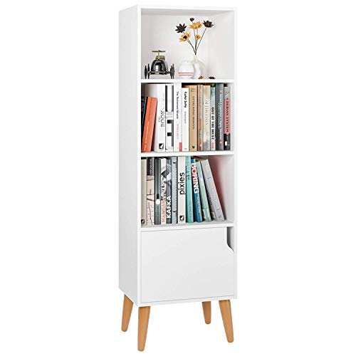 Estantería Librería Estantería para Libros Estantería de Pared Madera Estantería Salón con 4 Cubos 1 Puerta Blanco...