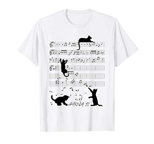 Cute Cat Kitty Playing Music Note Clef Musician Art T-Shirt