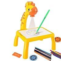 キッズ 投影 お絵かきボード プロジェクターテーブル デスク 音楽 12色カラーペン付き 画板 塗る絵 ミュージック付き おもちゃ 誕生日 プレゼント クリスマス 贈り物 繰り返し使える (イエロー)