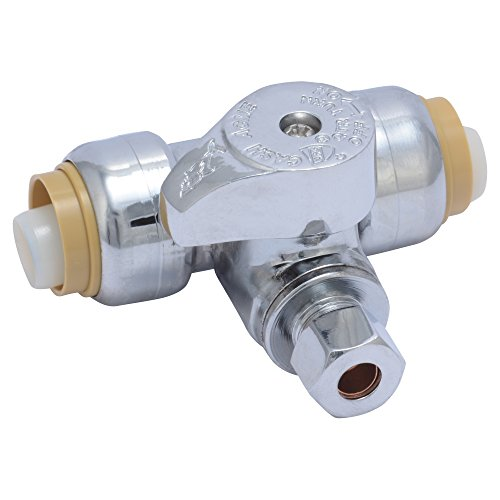 SharkBite 24983A Service Tee Stop Valve, 1/2 Inch x 1/2 Inch x 1/4 Inch, 1/4 Turn, Compression Service Stop Fitting, Water Valve Shut Off, Push-to-Connect, PEX, Copper, CPVC, PE-RT
