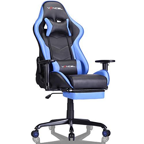 EVANCEL Gaming Stuhl Racing Computer Schreibtischstuhl Ergonomisches Design mit Breiten Rückenkissen, ausziehbahre Fußlehne in Taillenbereich einfach mit den PC verknüpfen (Blau)