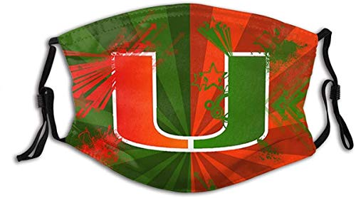 Adults Unisex Washable Reusable Face Mask Cover with Activated Carbon Filter Miami Hurricanes 3
