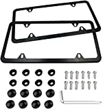 Indeed BUY Newest 2 Pcs 4 Holes Stainless Steel Black License Plate Frame,Car Licenses Plate Covers Holders Frames for Plates with Screw Caps.