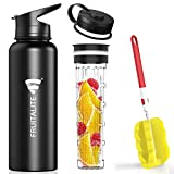 Fruitalite Thermos/Stainless Steel Fruit Infuser Water Bottle- 1.2 Litre with 2 Lids, Tritan