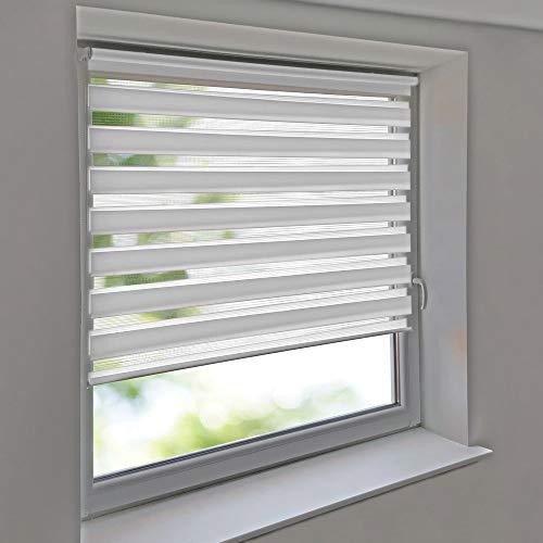 Easy-Shadow - Doppelrollo 65 x 200 cm weiß Klemmfix ohne Bohren Vario Seitenzug Duorollo Zebrarollo für Fenster und Türen