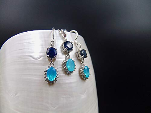 Matching Set, Sapphire, Blue Ethiopian Opal, Cubic Zirconia, Sterling Silver, Earrings Necklace
